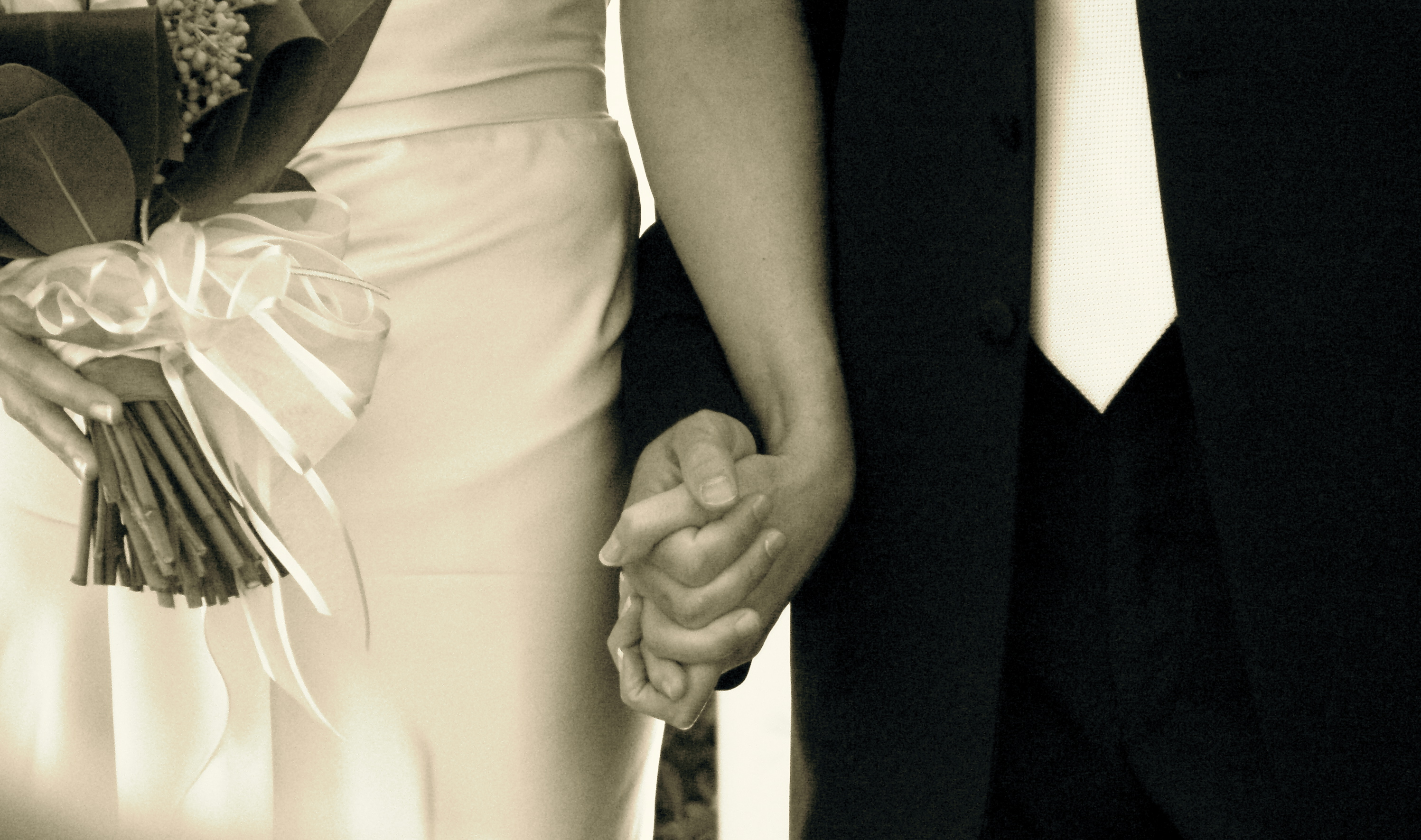 Wedding couple hand in hand
