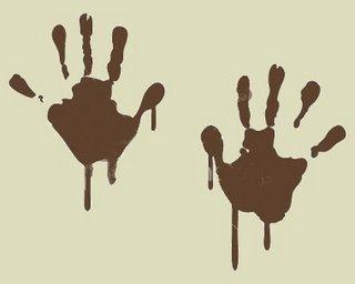muddy hand prints